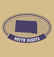 South Dakota map silhouette - oval stamp of state vector image vector image