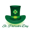 st patrick day leprechaun hat vector image
