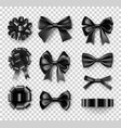 stylish black gift bows with ribbons vector image