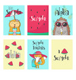 Summer animal cards hand drawn