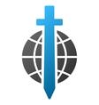 Sword Globe Gradient Icon vector image vector image