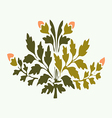 Symmetric blooming plant with flowers and leaf vector image vector image