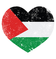 The State of Palestine retro heart shaped flag vector image vector image
