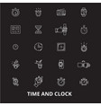 time and clock editable line icons set on vector image vector image