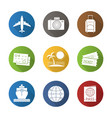 vacation and travel flat design long shadow icons vector image vector image