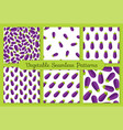 violet eggplant vegetable seamless pattern set vector image