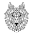 Wolf head zentangle stylized coloring page vector image vector image
