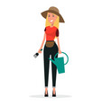 woman gardener with watering can and scoop vector image vector image