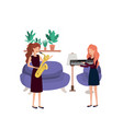 women with musical instruments in living room vector image vector image