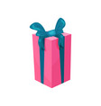 pink gift box with big blue bow present for vector image