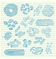 hand drawn pasta types vector image