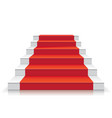 white stairway with red carpet 3d staircase vector image