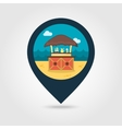 Cafe Bar bungalows on the beach pin map icon vector image