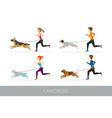 canicross people running with dogs vector image vector image