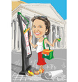 cartoon girl architect in Italy vector image vector image