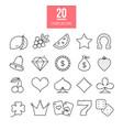 casino line icons set slot-machine symbols vector image vector image