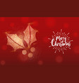 christmas gold glitter holly greeting card vector image vector image