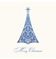 Christmas tree Blue vintage vector image