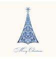 Christmas tree Blue vintage vector image vector image