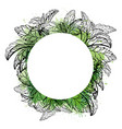 circle frame with sketch plants with watercolor vector image vector image
