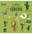 Circus performance decorative icons set with
