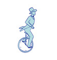 circus performer riding unicycle drawing vector image