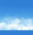 clouds or fog on blue sky background realistic vector image