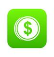 coin dollar icon digital green vector image