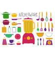 collection colorful kitchenware vector image