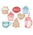 collection hand drawn pastel gingerbread vector image