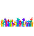 colorful raised hands group art therapy vector image