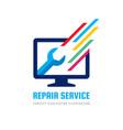 computer repair service business logo vector image vector image