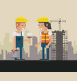 construcion workers geometric cartoons vector image vector image