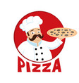 cook with pizza in his hand vector image vector image