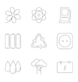 Energy icons set outline style vector image