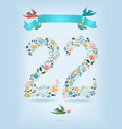 floral number twenty two with ribbon and birds vector image vector image