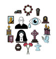 funeral ritual service icons set cartoon style vector image vector image