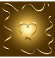 Gold silk heart with frame ribbons shiny vector image vector image
