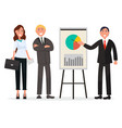 group of business people with diagram on poster vector image vector image