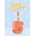 Happy birthday card with 5th birthday vector image vector image