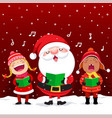 happy kids with santa claus singing christmas vector image vector image