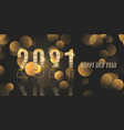 happy new year banner with metallic gold design vector image vector image