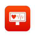 heartbeat icon digital red vector image vector image