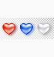 hearts realistic set red white blue hearts vector image vector image