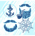 ink hand drawn seafarers elements for party vector image