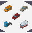 isometric car set of first-aid truck car and vector image vector image