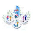 isometric seo optimization and analytics team vector image vector image