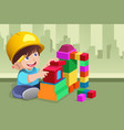 kid playing with his toys vector image