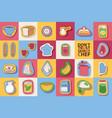 kitchen utensils and cooking scrapbook stickers vector image vector image