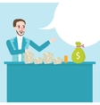 man behind counter talk show about money cash on vector image vector image